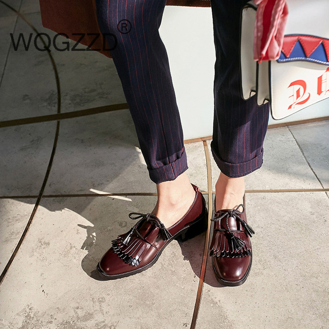 d32056e7f8 2018 British style brand shoes women loafers natural leather tassel lace-up  oxford shoes fringe women casual shoes zapatos mujer