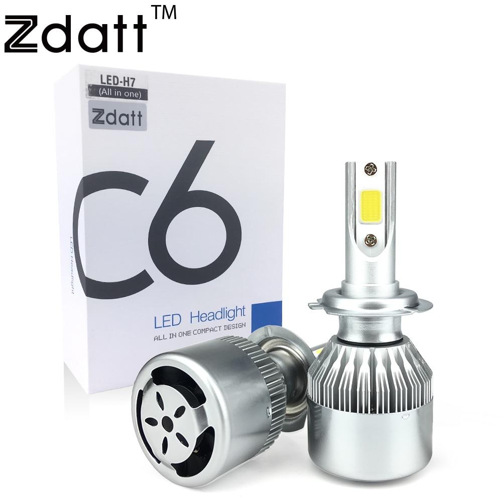 Zdatt 2Pcs Super Bright H7 Led Bulb 72W 7600Lm Headlights Auto Led Lamp With Fan Car Led Light 6000K White 12V Automobiles