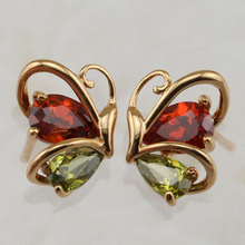 Lovely Stylish Nice Butterfly Multi-Color CZ Gems Stud Earrings Yellow Golden Plated Jewelry Gift For Women EB105B