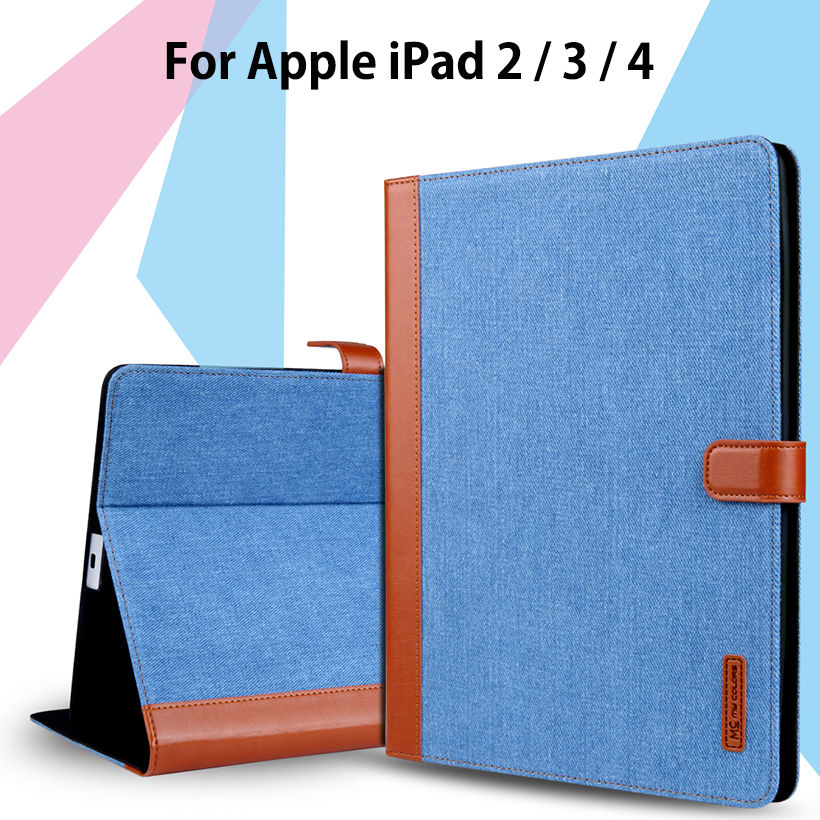 Slim Case For Apple iPad 4 3 2 Smart Cover cowboy PU Leather Soft Silicone Folio Stand Protective Shell For iPad2 iPad3 iPad4 for apple ipad air 2 pu leather case luxury silk pattern stand smart cover