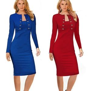 Image 4 - Женское Деловое платье Nice forever, зимнее винтажное облегающее платье карандаш с длинным рукавом и пуговицами, модель b10, 2019