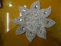 Free Shipping Wholesale Sunflower Design Iron On Crystal Custom Rhinestone Applique Design For Bridal Wedding Dress