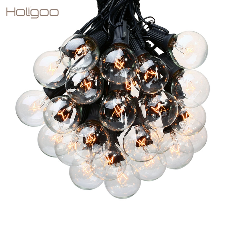 Holigoo 25Ft G40 Bulb Globe String Lights with Clear Bulb Backyard Patio Lights Vintage Bulbs Decorative Outdoor Garland Wedding монитор 24 nec multisync e243wmi silver white ips led 1920x1080 5ms vga dvi displayport usb