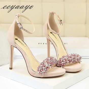 Heel Buckle Solid Pearl High Heel Sandals 2