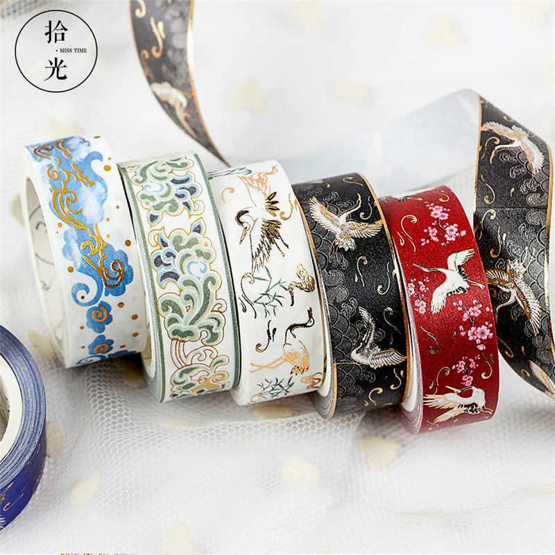 Bonita serie de estilo chino, cinta adhesiva de colores con patrón esmaltado, cinta adhesiva decorativa de Navidad para álbumes de recortes, papelería