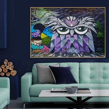 Owl Graffiti Street Art Mural Banksy Canvas Painting Posters and Prints POP Wall Pictures Living Room Home Decor