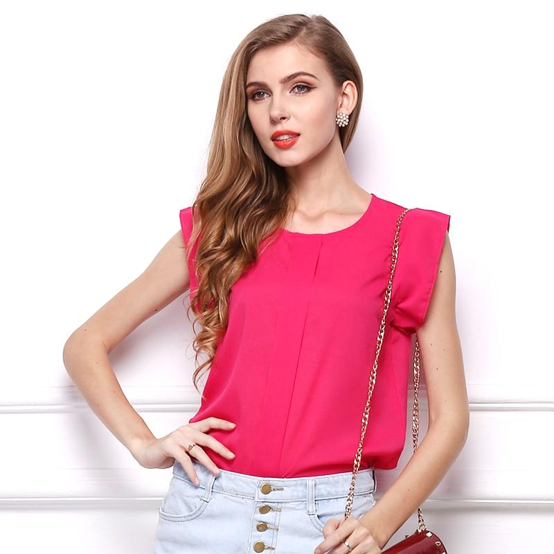 2018 Summer Style Blouse Women Chiffon Elegant Shirt Female Work Wear Office Ladies OL Tops Ruffles Sleeveless Solid Color