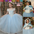 Hot Sale Children Girls Cinderella Dress Princess Dress Kids Movie Cosplay Costume With Cape Baby Girls Party Dresses Vestidos