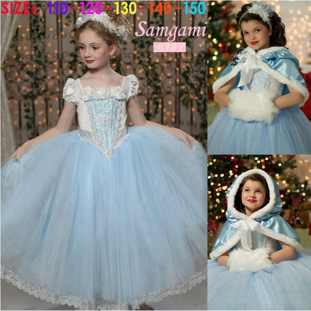 Venta caliente de Los Niños Niñas Vestido de Cenicienta Princesa Dress Kids Movie Cosplay Con la Capa Del Bebé Party Girls Vestidos Vestidos