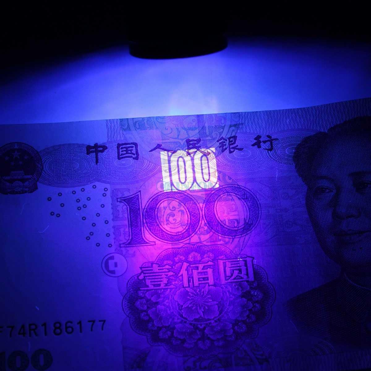DHL 100 Uds Mini 9 linterna LED Ultra violeta UV luz negra linterna portátil Detector de dinero lámpara AAA linterna