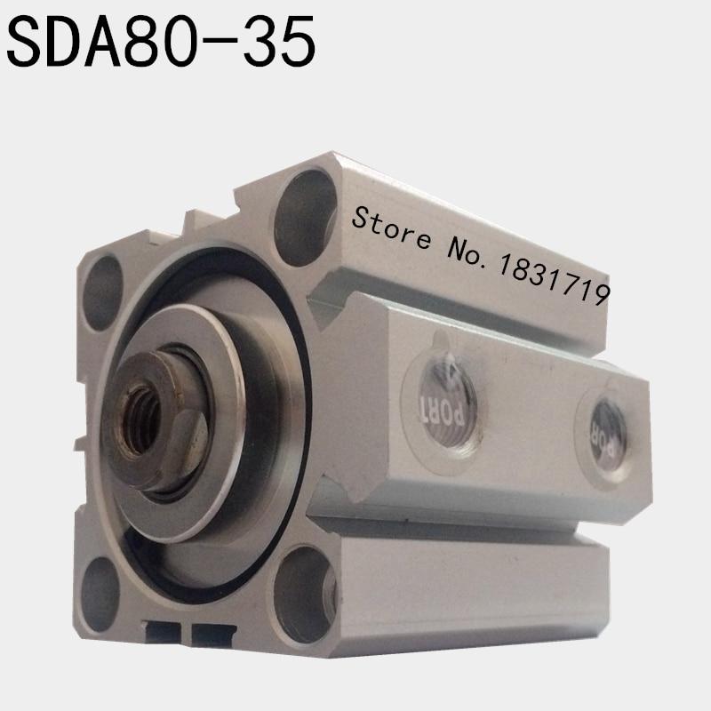 цена на SDA80-35 thin cylinder Series 80mm Bore 35mm Stroke SDA80*35 Aluminium alloy cylinder SDA80x35