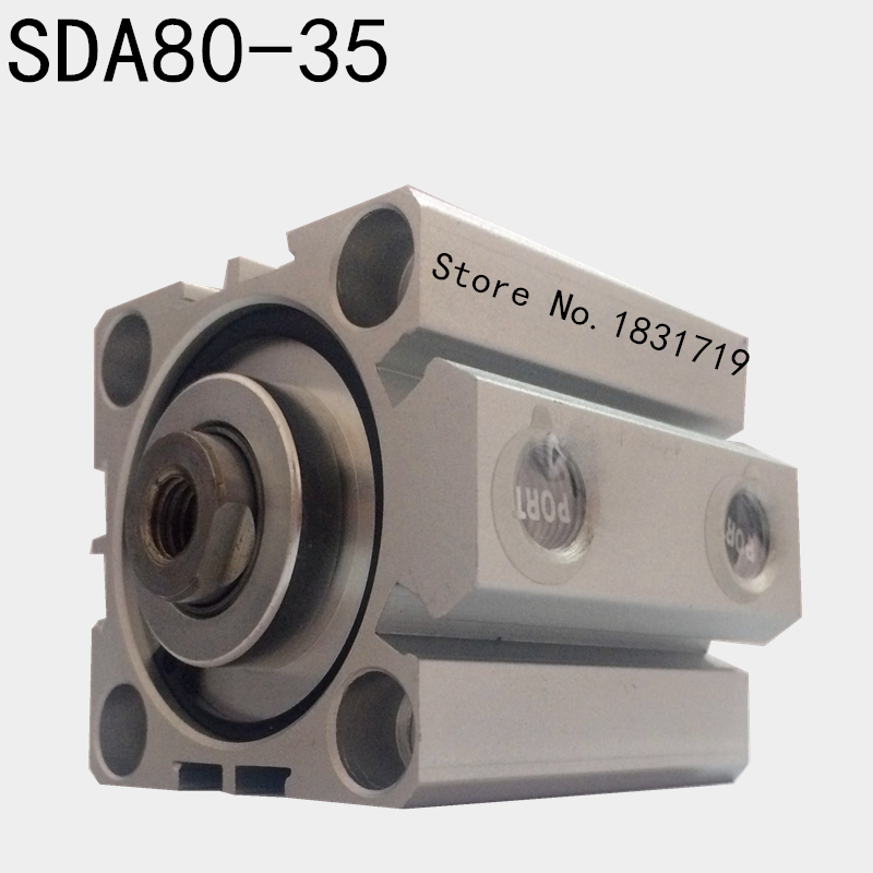 SDA80-35 thin cylinder Series 80mm Bore 35mm Stroke SDA80*35 Aluminium alloy cylinder SDA80x35SDA80-35 thin cylinder Series 80mm Bore 35mm Stroke SDA80*35 Aluminium alloy cylinder SDA80x35