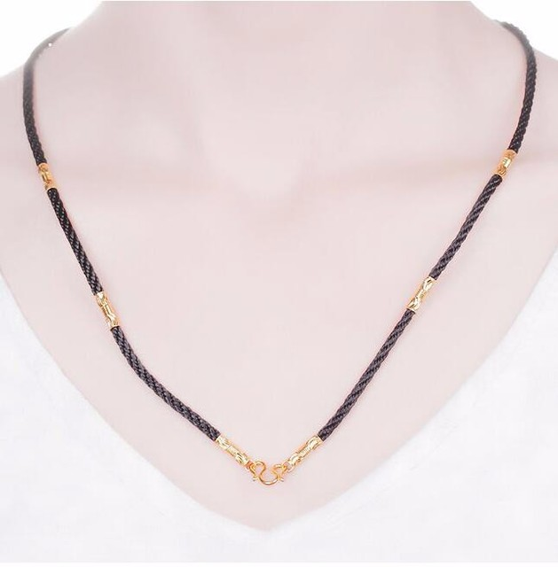 Hot sale   Authentic 999 24k Yellow Gold Beads Black String Necklace 2.70g