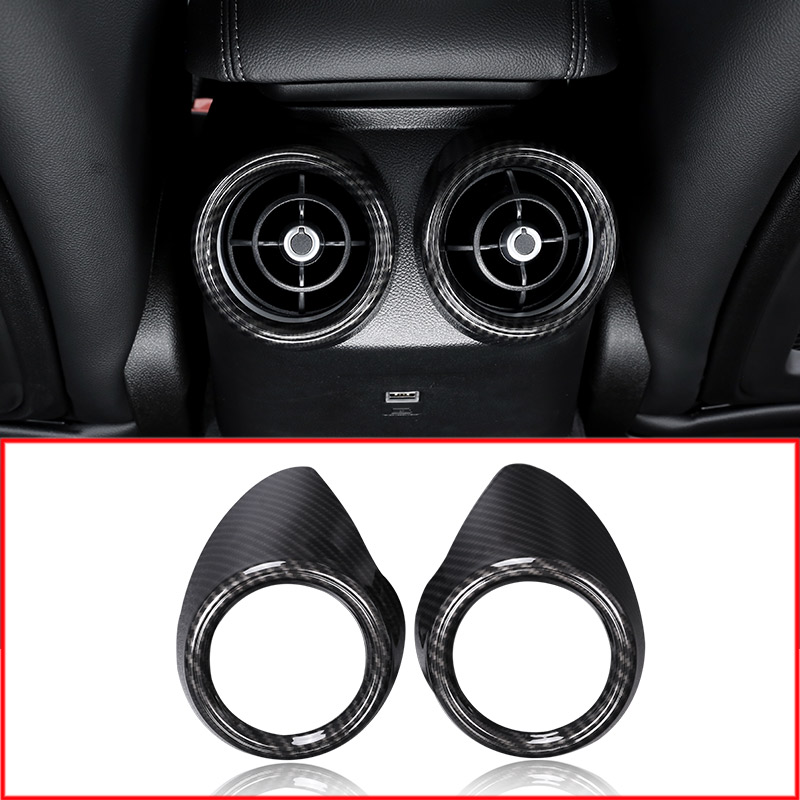 2PCS Carbon Fiber Style For Alfa Romeo Giulia 2017-2020 ABS Plastic Rear Row Air Conditioning Vent Cover Frame Trim <font><b>Car</b></font> Parts image