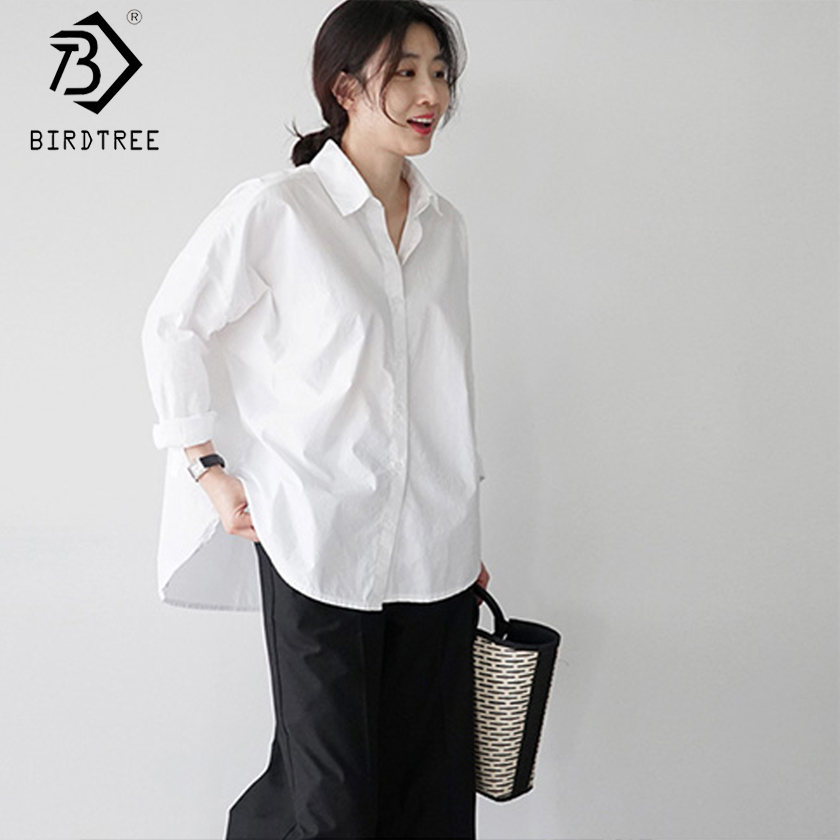 Korean Style White Women Shirt Solid Turn-down Collar Casual Loose Office Lady Tops Long Sleeve Fashion Femina Blusa T91026R