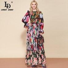 elastic Waist Floral Print Party Long Dress