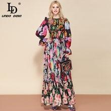 Ld linda della moda pista de verão manga longa maxi vestido feminino cintura elástica floral impressão elegante festa férias vestido longo