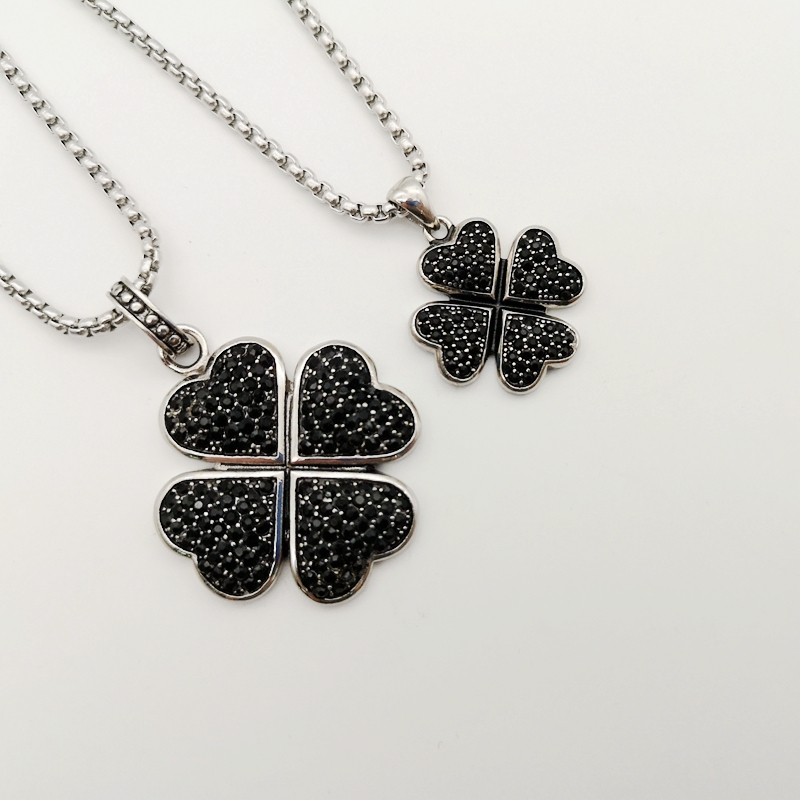 Silver color Lucky 4 leaf clover necklace stainless steel black stones 4 leaves clover pendant necklace for women BLKN0692 in Pendant Necklaces from Jewelry Accessories