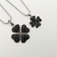 Silver color Lucky 4 leaf clover necklace stainless steel black stones 4 leaves clover pendant necklace for women BLKN0692 stylish lucky clover constellation style pendant necklace aries