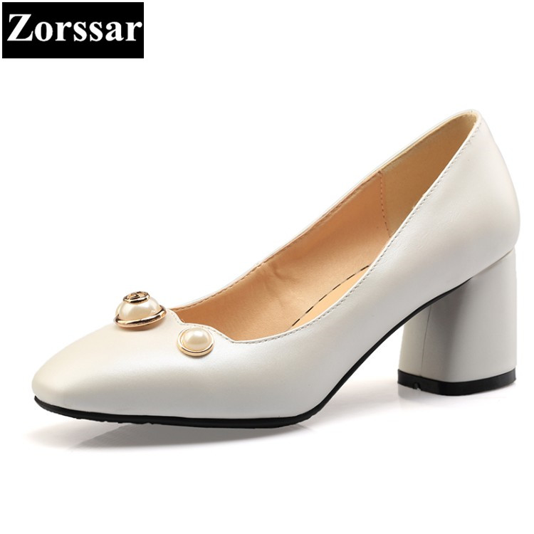{Zorssar} 6 cm High Heels pointed toe Pumps comfortable thick heel Shoes Pu leather Female Ladies career office shoes size 33-43