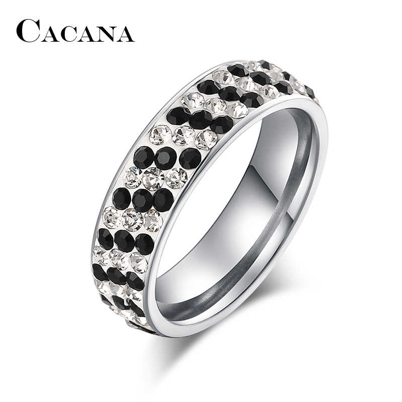 CACANA Stainless Steel Rings For Women Regular Pave Setting Cubic Zirconia Personalized Custom Fashion Jewelry Wholesale NO.R205