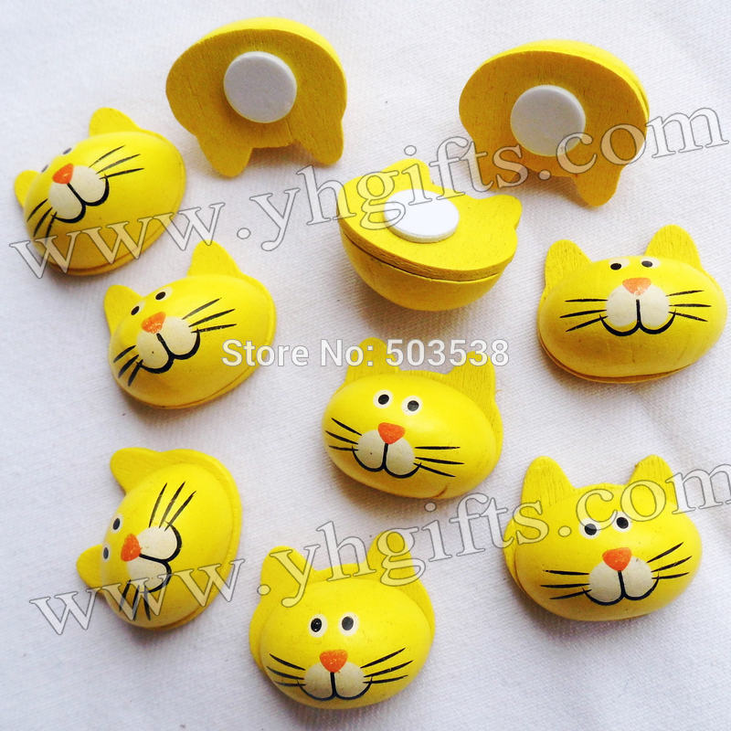 500PCS/LOT.Yellow cat wood stickers,2x2.4cm.Kids toys,scrapbooking kit,Early educational DIY.Kindergarten crafts.Classic toy