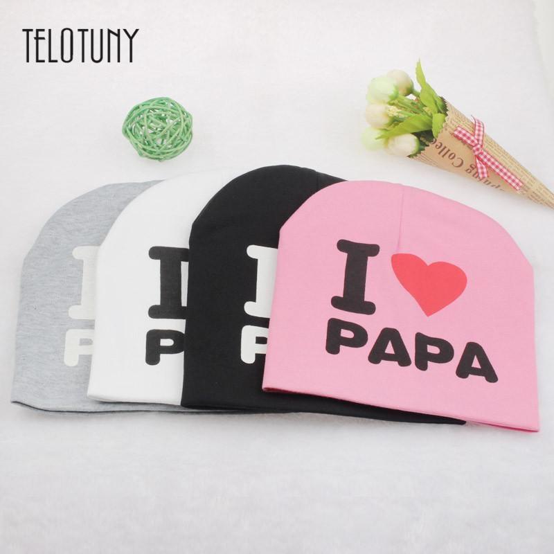 TELOTUNY Knitted Warm Cotton Beanie Hat I LOVE PAPA MAMA Print Baby Kids Hats soft stretchy thick warm cute fashion S3FEB14