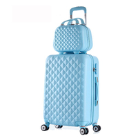 2 PCS/SET beautiful 14 polegada Cosmetic Bag 202428polegadas girl students trolley travel luggage suitcase with wheels woman