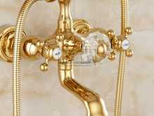 Luxury Crystal Handle Bathtub Gold Brass Faucet with Hand Shower Telephone Type Bath Faucets Sets Mixer Tap Wall Mounted EL8310G