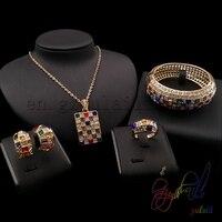 High Quality Zircon Pendant Jewelry Set Beautiful Bangle Ring And Earrings Jewelry Sets Small Jewellery