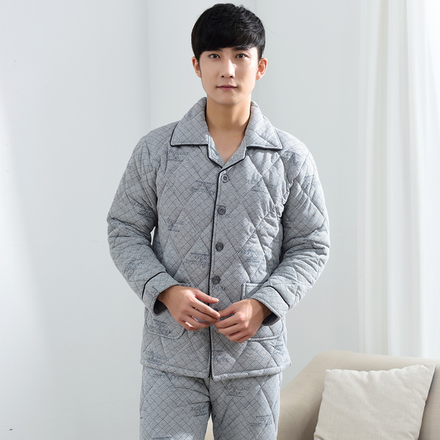 2016 winter family men sleepwear pajamas set striped cotton pyjamas outfits
