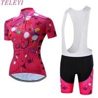 Summer Pro Women Cycling Jersey Shorts Set Sleeve Short Sleeve Girl Bike Clothing Bike Cycling Cycle Cloth Rose red XS 4XL