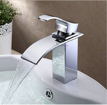Бесплатная доставка современные одной ручкой хромированная отделка латунь материал кран водопад ванная раковина смеситель zx198
