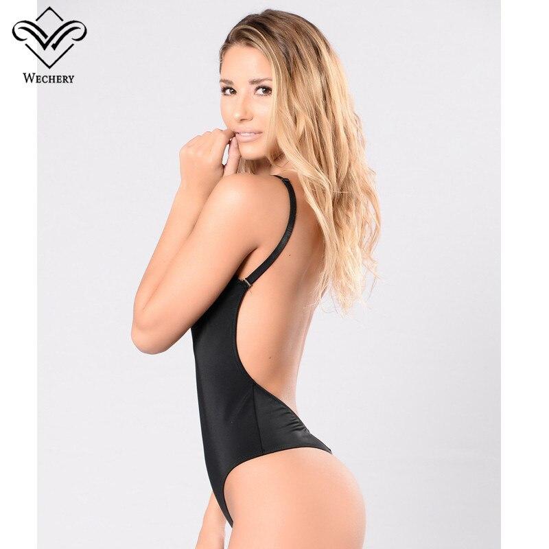 Wechery Body Shaper Bodysuit Sexy Waist Trainer Slimming Underwear Corset Backless Push Up Black Bodysuit Shaperwear Women Tops
