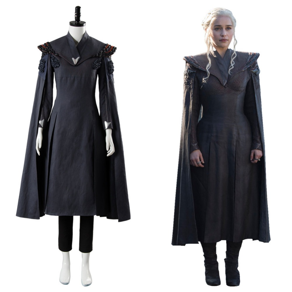 Game of Thrones Season 7 Cosplay Daenerys Targaryen Costume GOT Dany Cosplay Black Dress Outfit With Cloak Halloween Costume