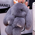 100% Real Genuine Rex rabbit Furs Keychain Pendant Bag Car Charm Tag Cute Mini Rabbit Toy Doll Real Fur Monster charm Keychains