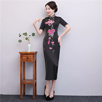 ChineseStyle Dress Lady High Split Black Cheongsam Elegant Female Sexy Short Sleeve Qipao Vestidos Plus Size 3XL Vestido Chino