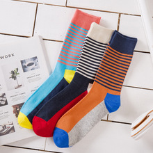 New Casual Men Socks Popular Harajuku Street Style Fashion Happy Funny Striped Cotton Male