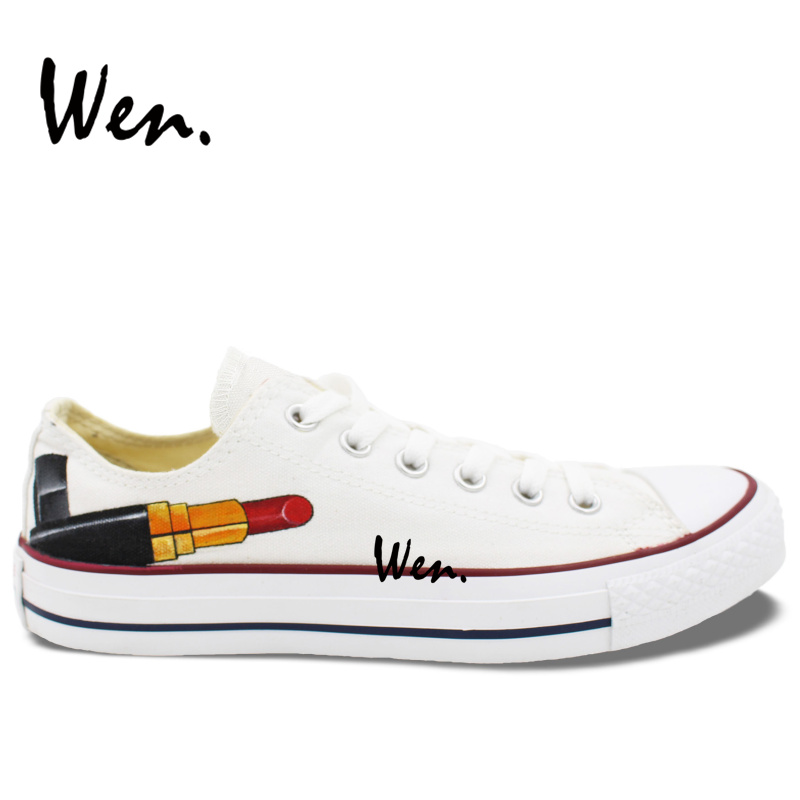 691b2b7a3a04 Wen Hot Sale Hand Painted Shoes Original Design Custom Red Lipstick Men  Women s Gifts Low Top White Canvas Sneakers