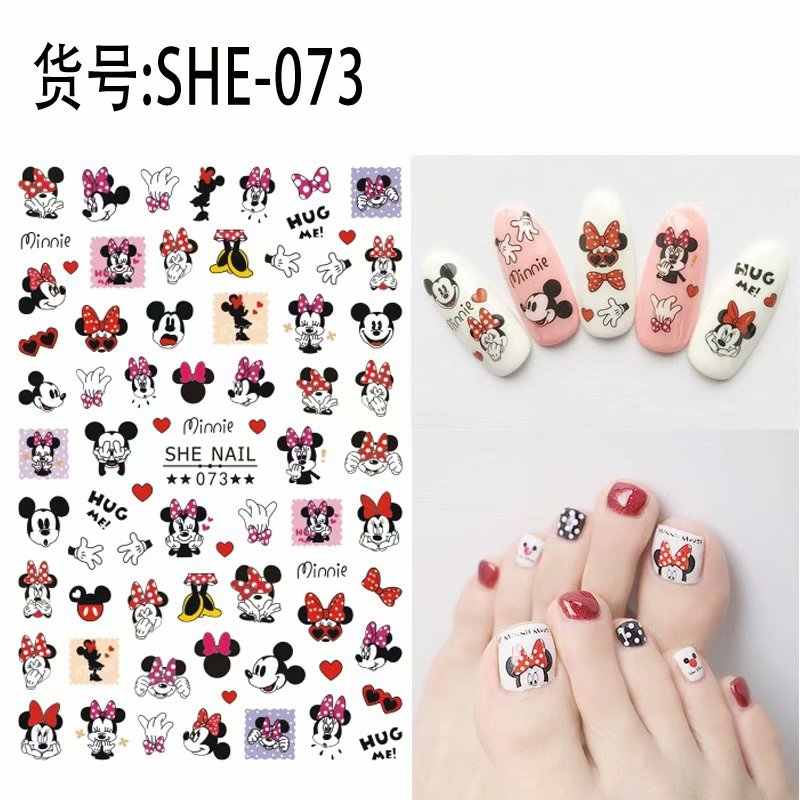 2 sheets nail art decoraties nail sticker tattoo beauty cartoon muis Decals manicure levert nep nagels accessoires stickers