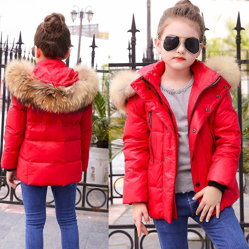 3-7years Girls Winter Jacket Warm Winter Coats White Duck Down Feather Parkas Girls Outwear Fur Collar Winter Jacket Kids 2017 kids jacket winter for girl and coats duck down girls fluffy fur hooded jackets waterproof outwear parkas coat windproof