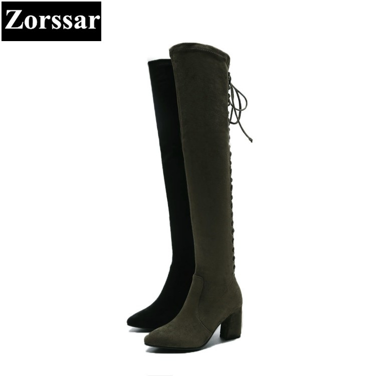 {Zorssar} 2017 new winter ladies shoes kid suede pointed Toe High heels over the knee boots fashion cross-tied womens boots весна кукла алла 2