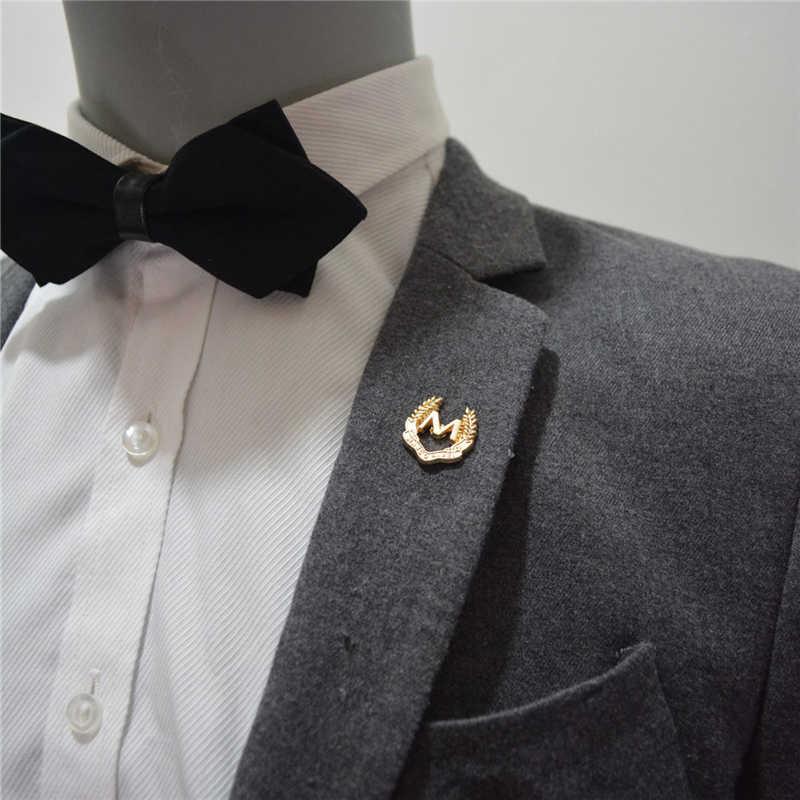 DoreenBeads 1 PC Letter M Badge Business Men\u0027s Suit Collar Pin Brooch  Golden Fashion Accessory Men Women Shirt Tie Pocket Pins