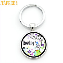 TAFREE cute fashion cartoon bowling pendant key chain ring holder trendy sports men women brand keychain handmade jewelry SP898(China)