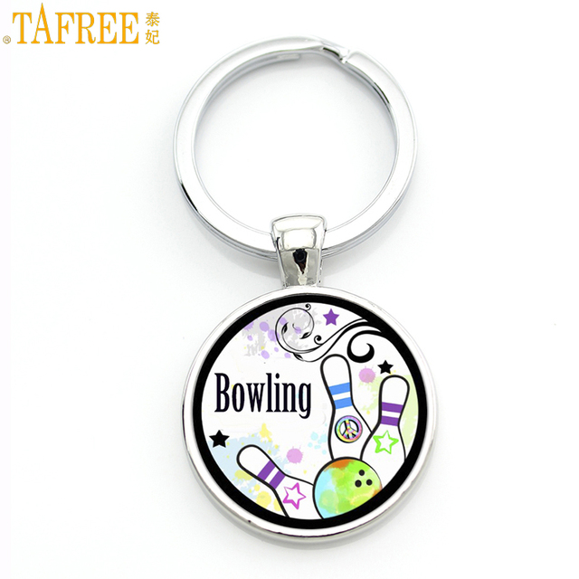 TAFREE милые модные Боулинг с кеглями в виде персонажей мультфильмов кулон брелок кольцо держатель мода спортивные для мужчин женщин бренд ювелирные изделия ручной работы SP898