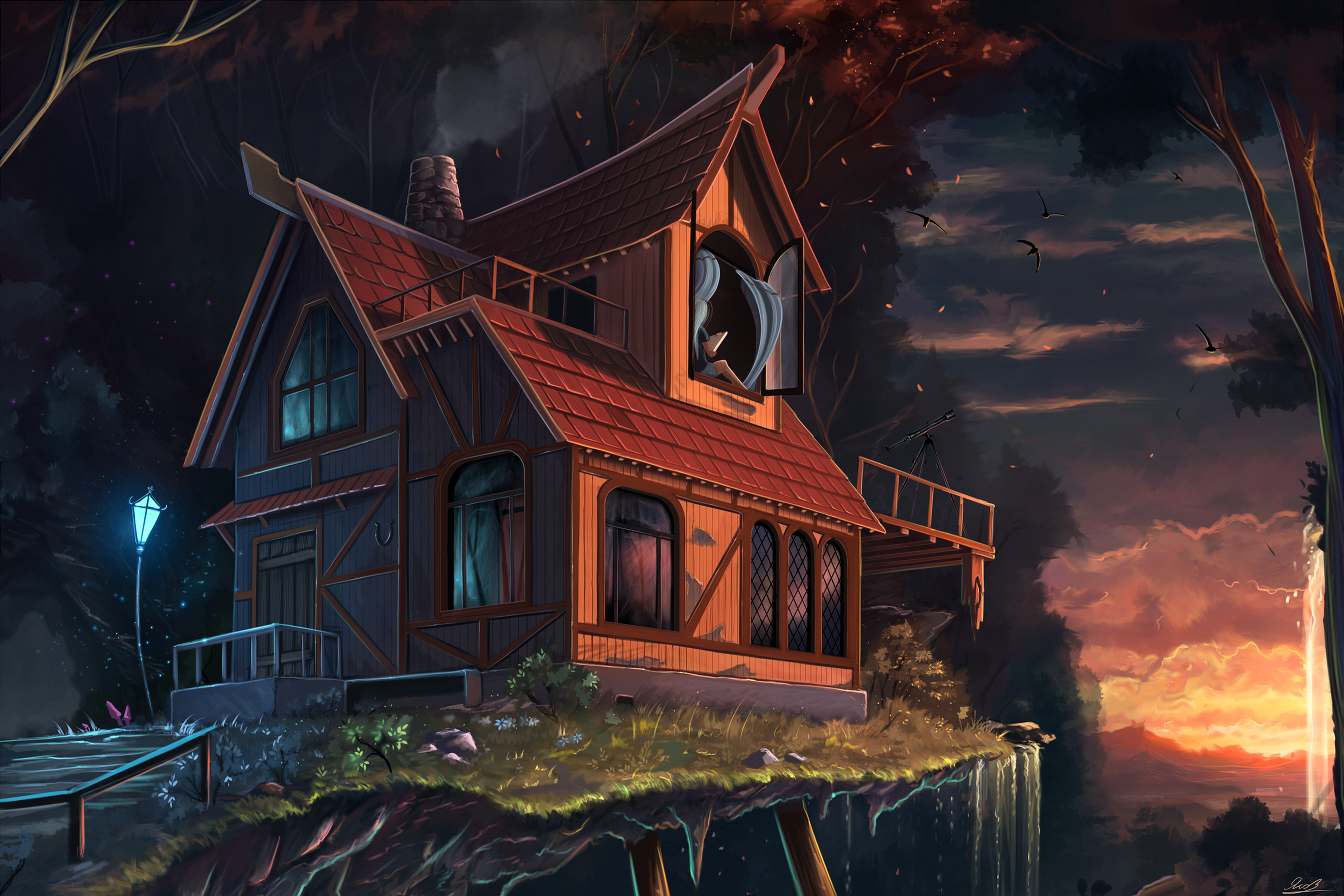Fantasy Art Drawing Horror Dark House Bats Lamp Night Living Room Home Decor Wood Frame Fabric Poster 131FJ In Painting Calligraphy From Garden