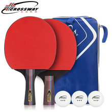 2Pcs/Set Carbon Table Tennis Racket 3-Star Ping Pong Racket Rubber Table Tennis Blade Table Tennis Training Paddle With Bag Ball(China)