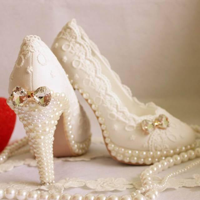 2017 Новая Платформа Жемчужные Кружева Белый Свадебные Туфли Женщины Насосы Партия Танец Сексуальные Высокие Пятки Свадебная Обувь плюс размер 34-43