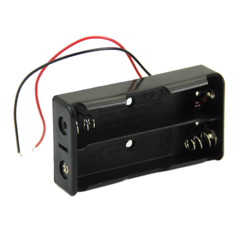 1XBlack Plastic Battery Storage Case With Wire Leads Can Hold For 2 x 18650 Battery