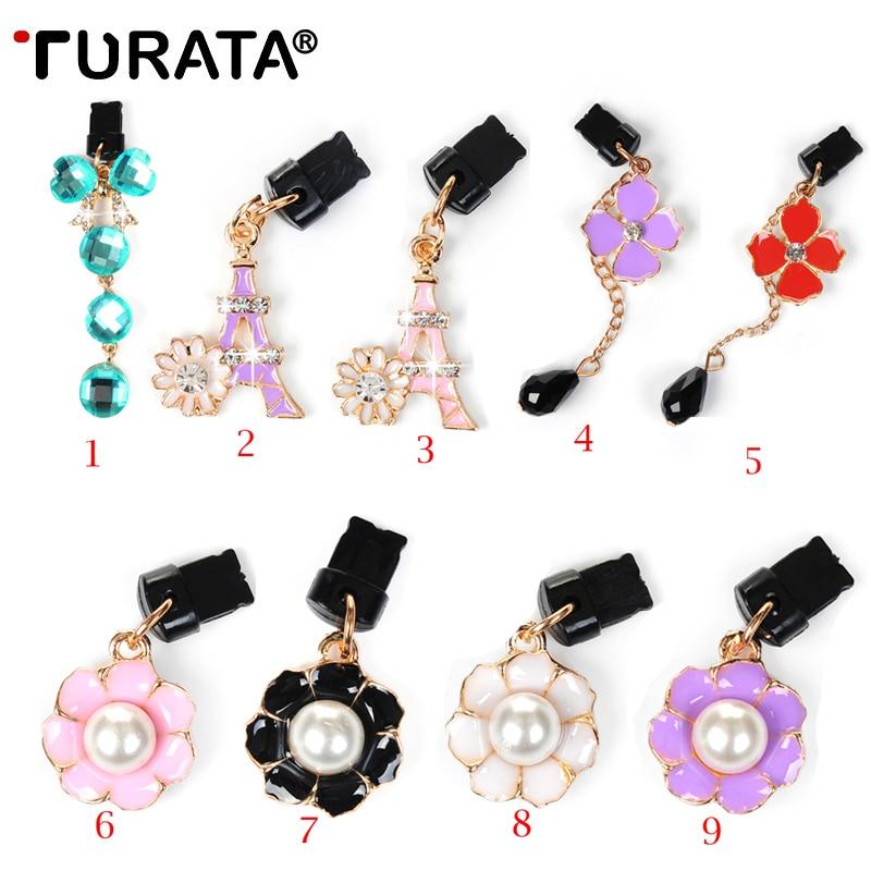 TURATA Diamond Flowers Audio 3.5mm Headphone Jack Anti Dust Plug Mobile Phone Accessories Earphone Headset Dust Plugs